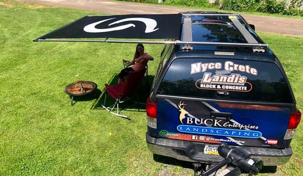 manual RV shade tailgating